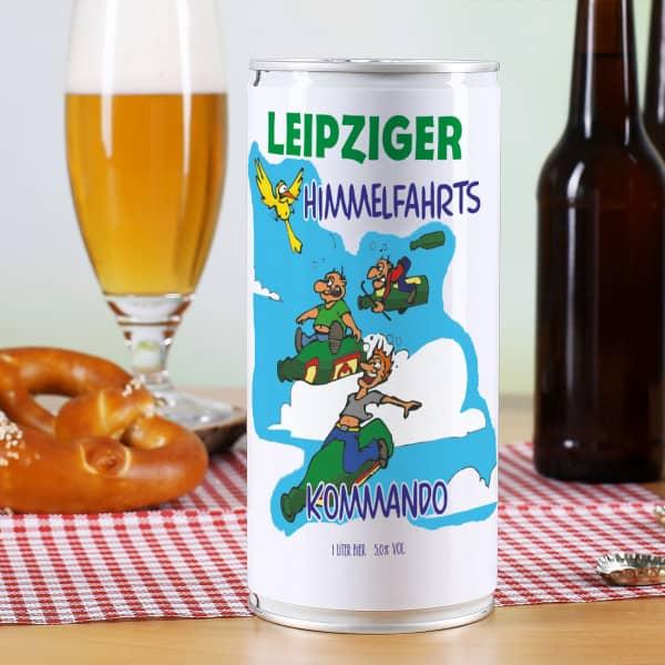 Bierdose Himmelfahrtskommando mit Heimatort und lustigem Vatertags Motiv bedr...