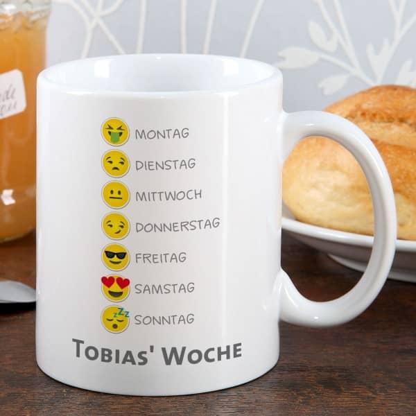 Emoji Tasse Wunschtext Woche Smiley