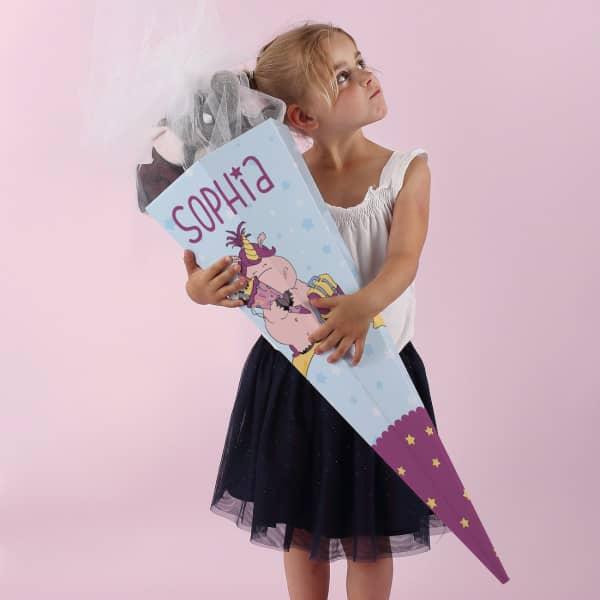 Knuddelhorn Schultüte für Mädchen mit Wunschname