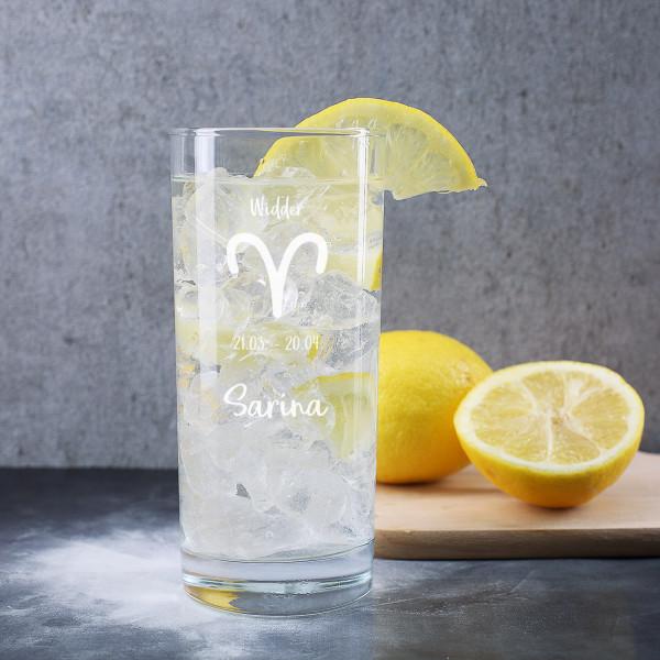Trinkglas mit Ihrem Sternzeichen und Name