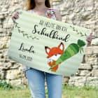 Ab heute bin ich Schulkind - kleines Banner mit Name, Datum und Fuchsmotiv