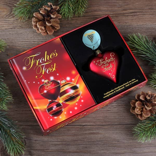 Box Frohes Fest mit Weihnachtsanhänger Herz