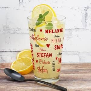 Trinkglas zum Valentinstag mit Namen