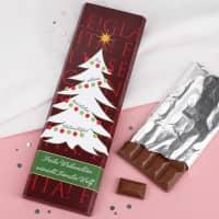 300g Schokolade mit Weihnachtsmotiv und Wunschtext
