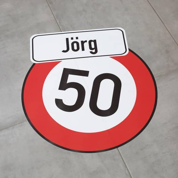 Fußbodenaufkleber Verkehrszeichen zum Geburtstag