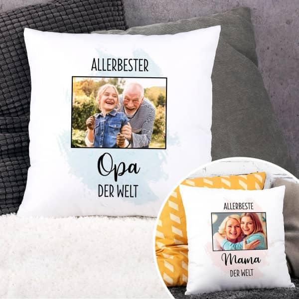 Kissen für die allerbesten Menschen mit Foto und Wunschtext