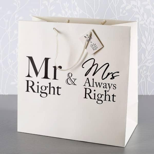 Geschenktüte zur Hochzeit Mr. Right & Mrs. Always Right