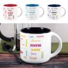 Großer Kaffeepott mit Ihrem Namen in verschiedenen Schriftarten