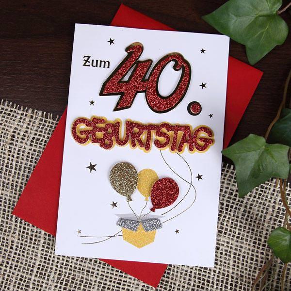 glitzernde Grußkarte zum 40. Geburtstag