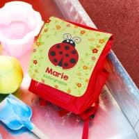 Rucksack für Kinder mit Marienkäfer, bunten Blüten, Name und Wunschtext