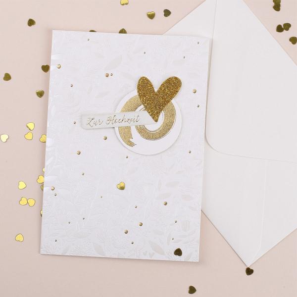 3D Glückwunschkarte zur Hochzeit mit goldenen Herz