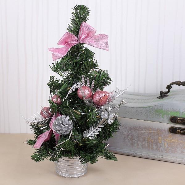 Weihnachtsbaum Mini mit rosafarbenen Dekoelementen