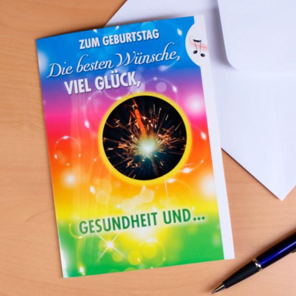 Geburtstagskarte Wunderkerze mit Sound und Licht