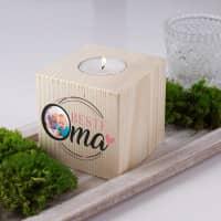 Teelichthalter aus Holz für die beste Oma mit Foto