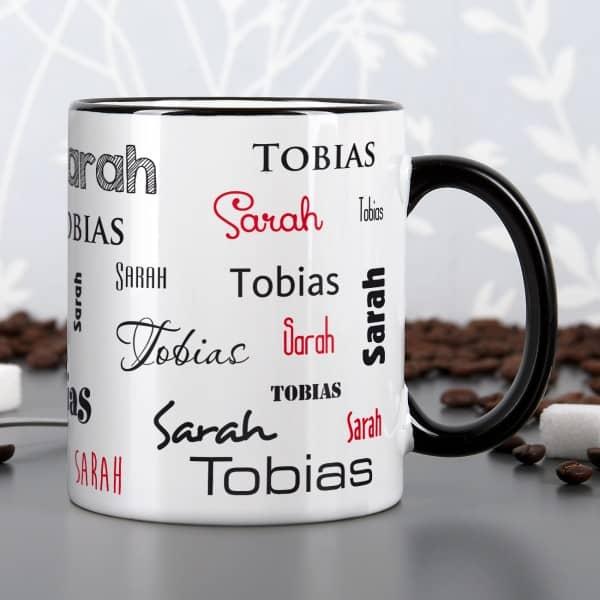 Tasse mit zwei Namen in schwarz und rot