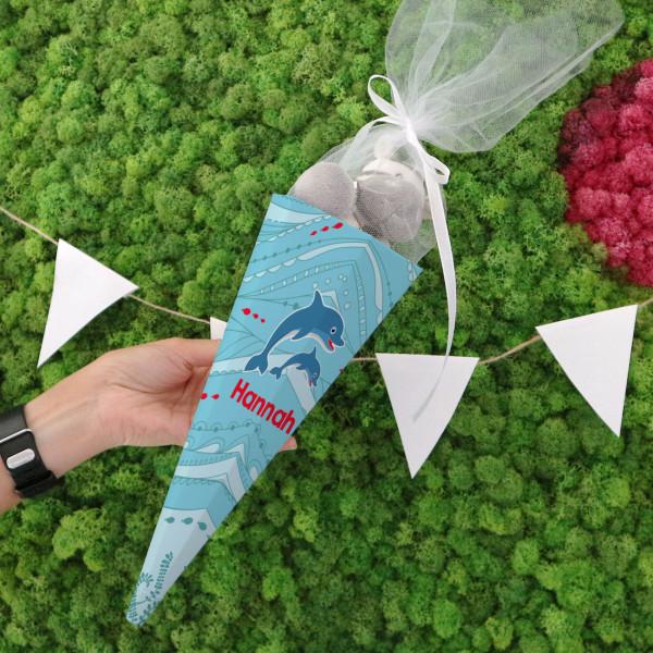 Kleine Zuckertüte mit Delfinen