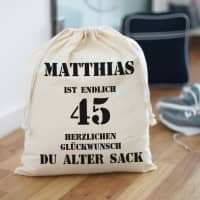 personalisierter Baumwollbeutel für einen Alten Sack zum Geburtstag