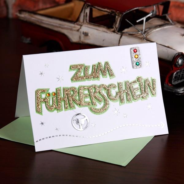 Glitzernde Glückwunschkarte zum Führerschein