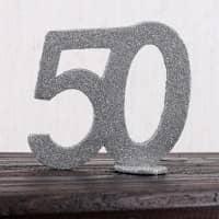 Silberne Dekozahl 50 zum Geburtstag für Tischdekoration