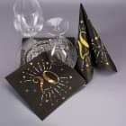 Servietten zum 20. Geburtstag - schwarz/gold-metallic