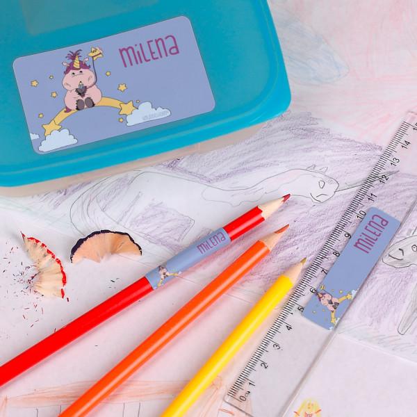 100er Aufkleberset mit Einhorn und Wunschname - Originelle Geschenkideen für den Schulanfang