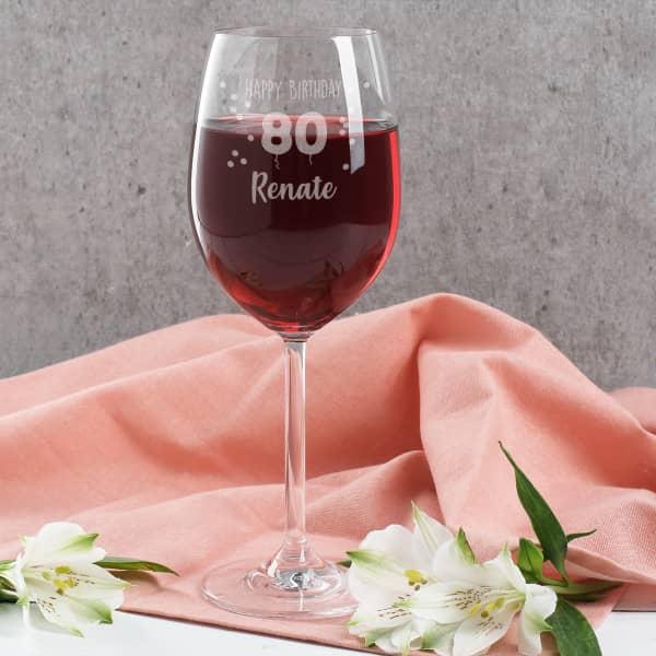 Happy Birthday 80 - graviertes Weinglas zum 80. Geburtstag