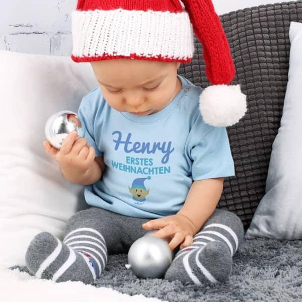 Baby T Shirt Erstes Weihnachten mit Name und Elf