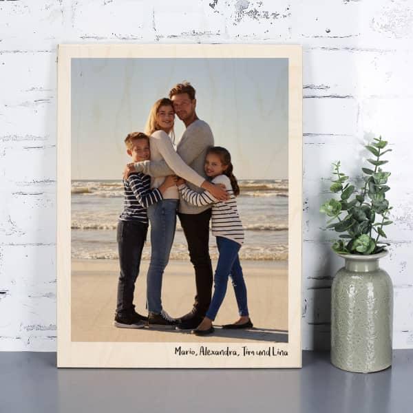 Holzplatte mit Foto und Text nach Wunsch bedruckt als Geschenk