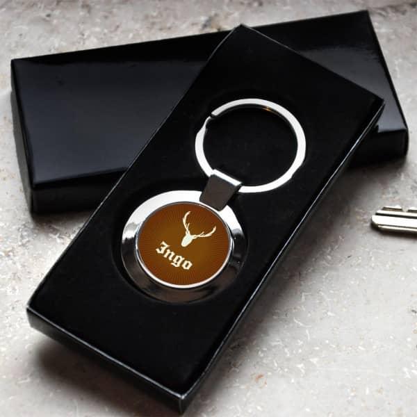 Schlüsselanhänger mit Jagdmotiv und Wunschname