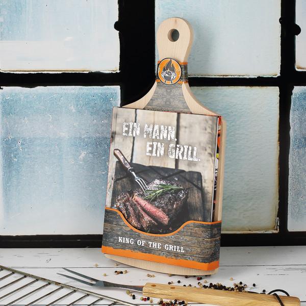 Schneidebrett aus Edelholz mit Grillbuch