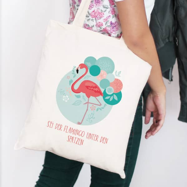 Flamingo Beutel mit Wunschtext