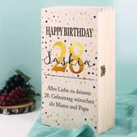 Bedruckte Holzbox als Geschenkverpackung zum Geburtstag