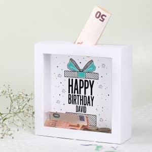 Bilderrahmen Spardose zum Geburtstag mit Name