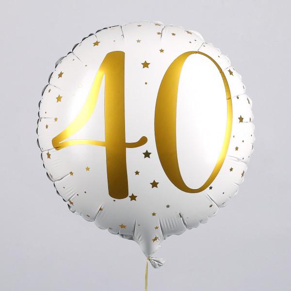 Folienballon zum 40. Geburtstag in weiß