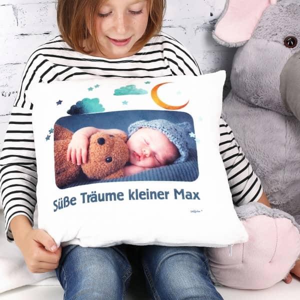 Kuscheliges Kissen zum Schlafen mit Ihrem Foto und Wunschtext