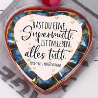 Pralinenherz zum Muttertag für Supermuttis