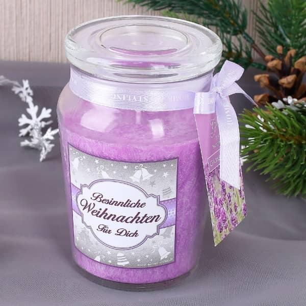 XL Duftkerze im Glas für Weihnachten Lila