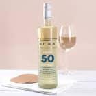 Happy Birthday 50 - Weißwein mit Glückwunschtext