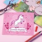 Brillenputztuch mit Pink Pony und Ihrem Wunschnamen
