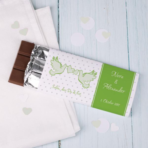Gastgeschenk zur Hochzeit Schokolade mit Tauben und Wunschtext