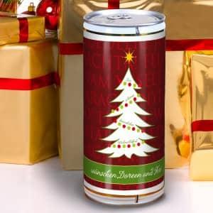 Bierbüchse mit Weihnachtsgruß für liebe Freunde