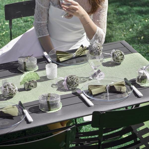Deko Tischläufer aus Baumwolle in Grün