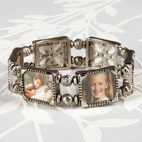 Silbernes Armband für 6 persönliche Fotos