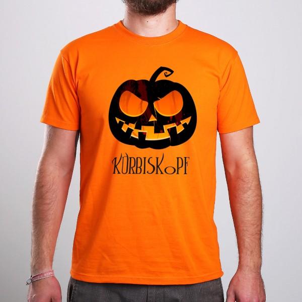 Oranges Männershirt zu Halloween mit Kürbis und Wunschtext