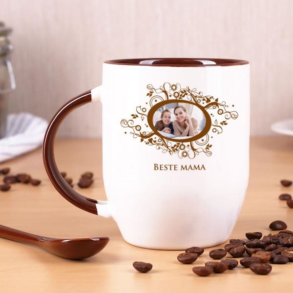 Tasse mit Löffel personalisiert mit Bild und Wunschtext!