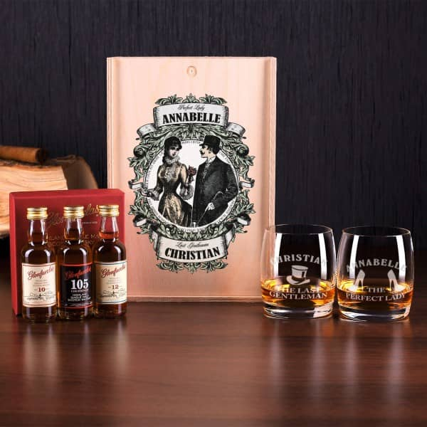 Glenfarclas Whisky-Set für Ladies and Gentlemen inklusive gravierte Gläser