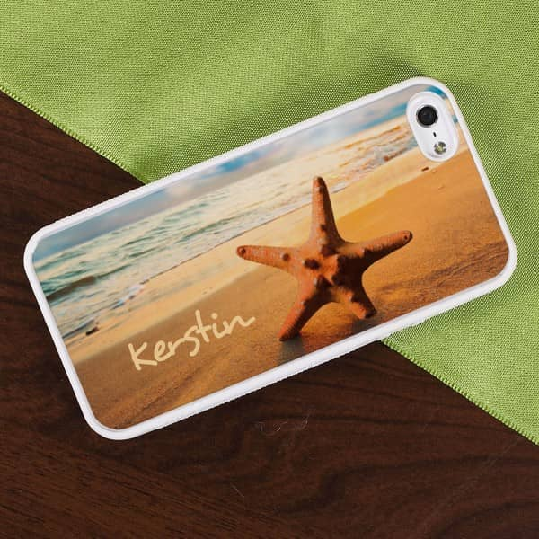 weiße Handyhülle iPhone 5(s) mit persönlichem Strandmotiv