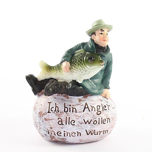 Angler auf Stein mit Spruch Ich bin Angler