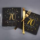 Servietten zum 70. Geburtstag - schwarz/gold-metallic