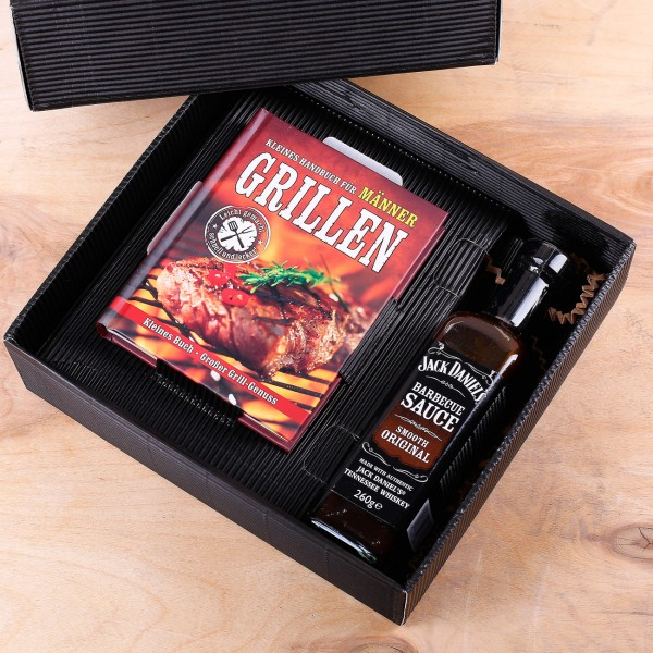 Geschenkset für Männer Mini Grillbuch und BBQ Sauce